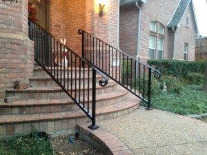 iron handrail installation stairway railings