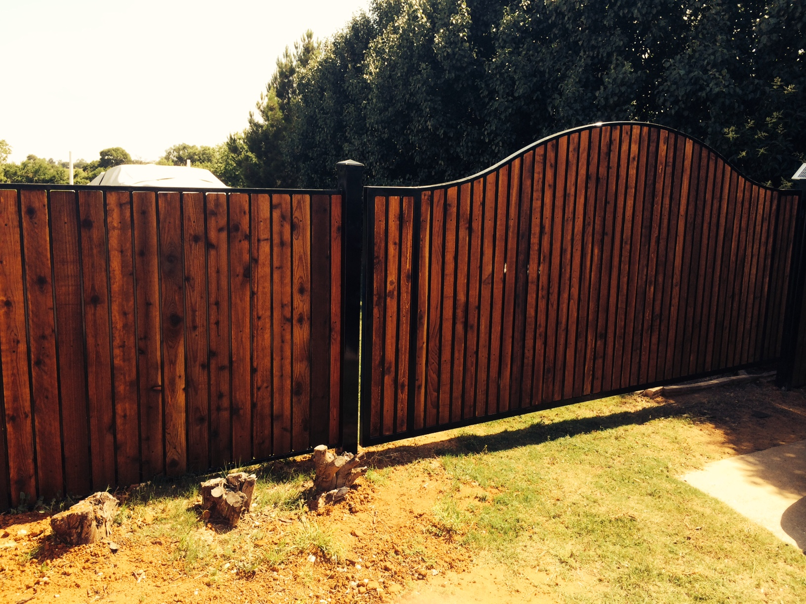 Galvanized steel frame drive gate fence dallas wood gate - Automatic Driveway Gate Wood Iron