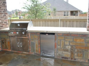 outdoor kitchen outdoor living area stone counters