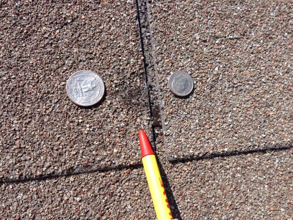 Dent in Shingles From Hail