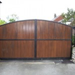 Wrought Iron with Wood Driveway Gate w/ Cedar Pickets