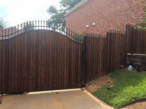wrought iron fence with wood pickets swing gate denton tx installation